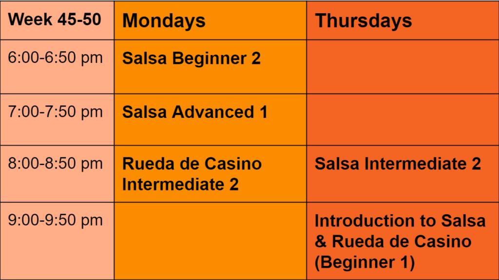 Fall 2 - 2021 schedule